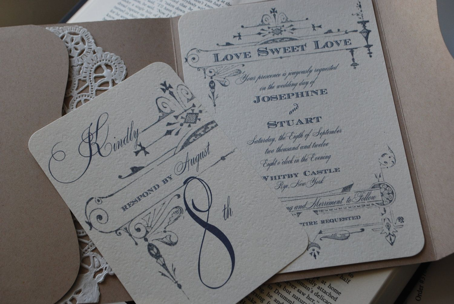 vintage wedding invitation text%0A Items similar to Country Chic Vintage Wedding French Invitation La  Louisiane Inspired Wedding Invitation Suite on Etsy