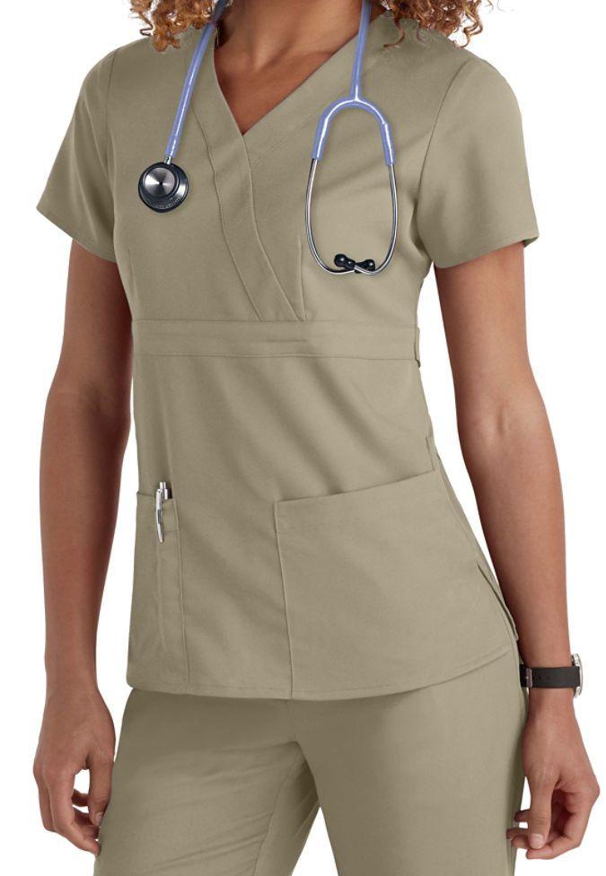 Greys Anatomy 4153 Womens 3 Pocket Mock Wrap Scrub Top New Khaki