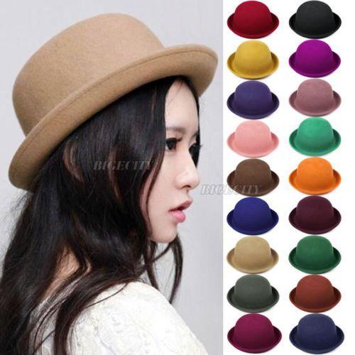 패션 2017 새로운 핫 빈티지 여성 레이디 귀여운 유행 양모 중산 더비 모자 모자 겨울 따뜻한 모자 솔리드 12 색상