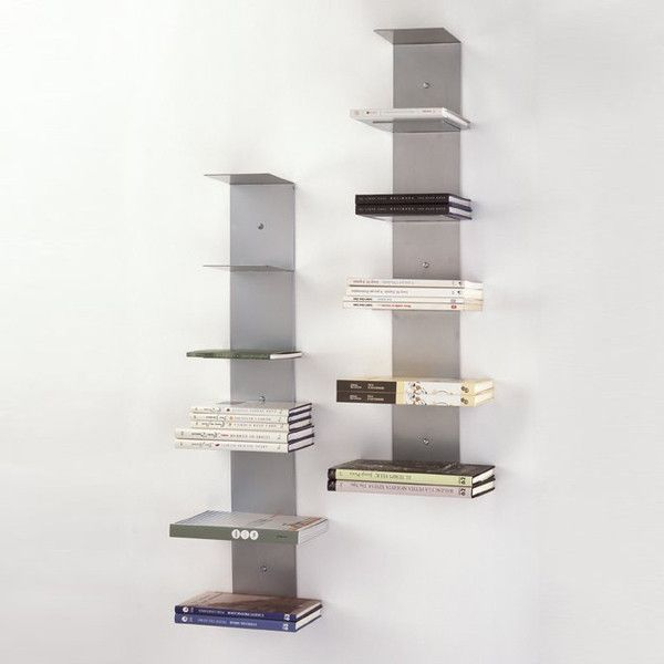estantería invisible vitual vertical diseño decoración libros librería pared