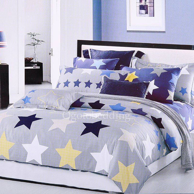 Blue And Gray Star Patterns Boys Comforter Sets Twin Comforter