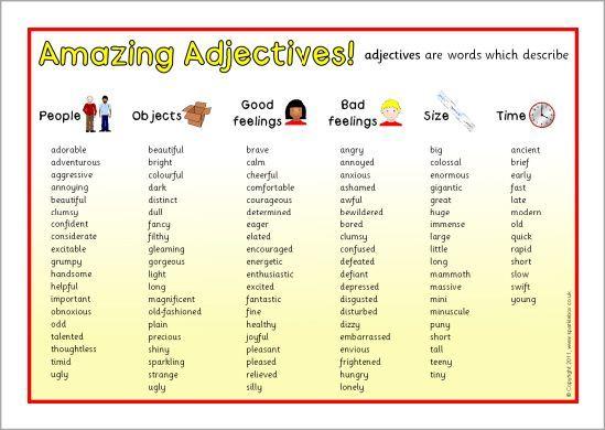 adjectives summary chart search grammar