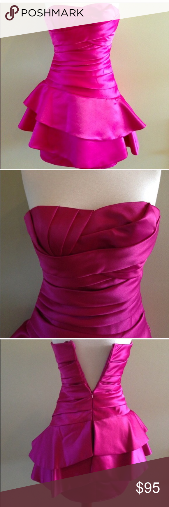 NWT Magenta cocktail dress Made in Italy. Magenta strapless silk ...