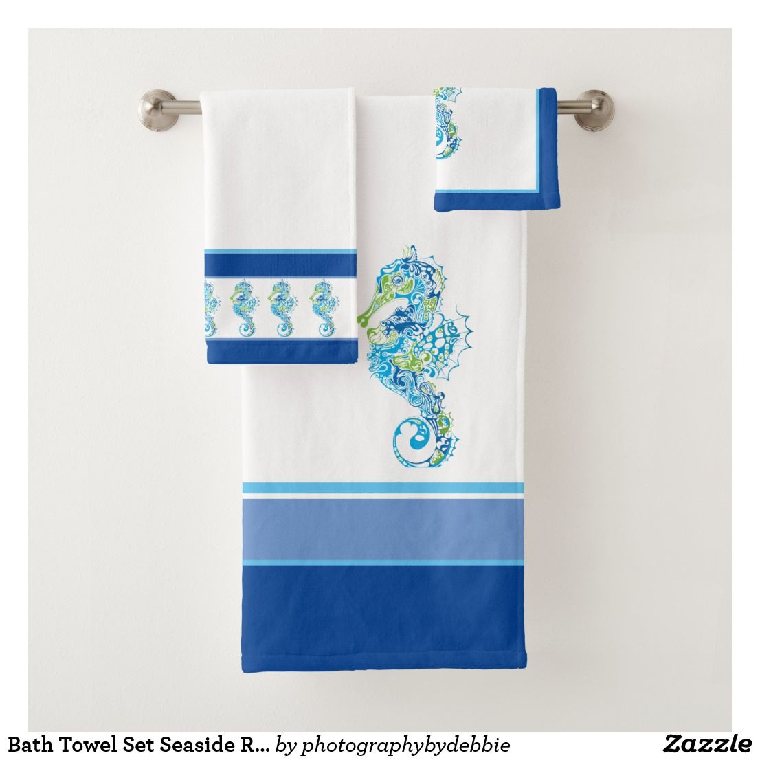 Bath Towel Set Seaside Royal Multi Color Zazzle Com Bath Towel