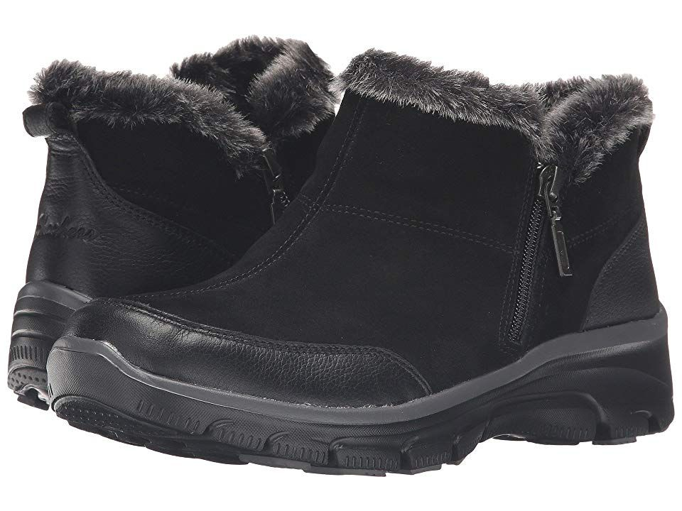 Skechers Easy Going Black Women S Zip Boots Keep Warm And Comfy