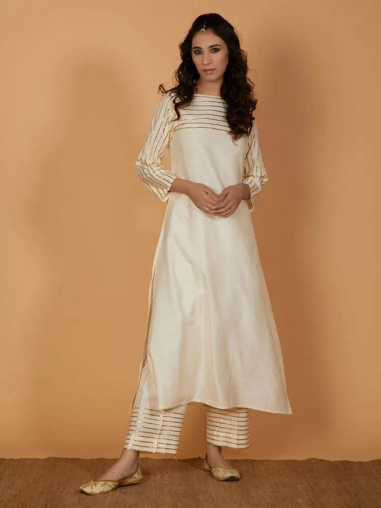 Buy Off White Gota Cotton Silk Kurta with Pants- Set of 2 online at Theloom #indiandesignerwear