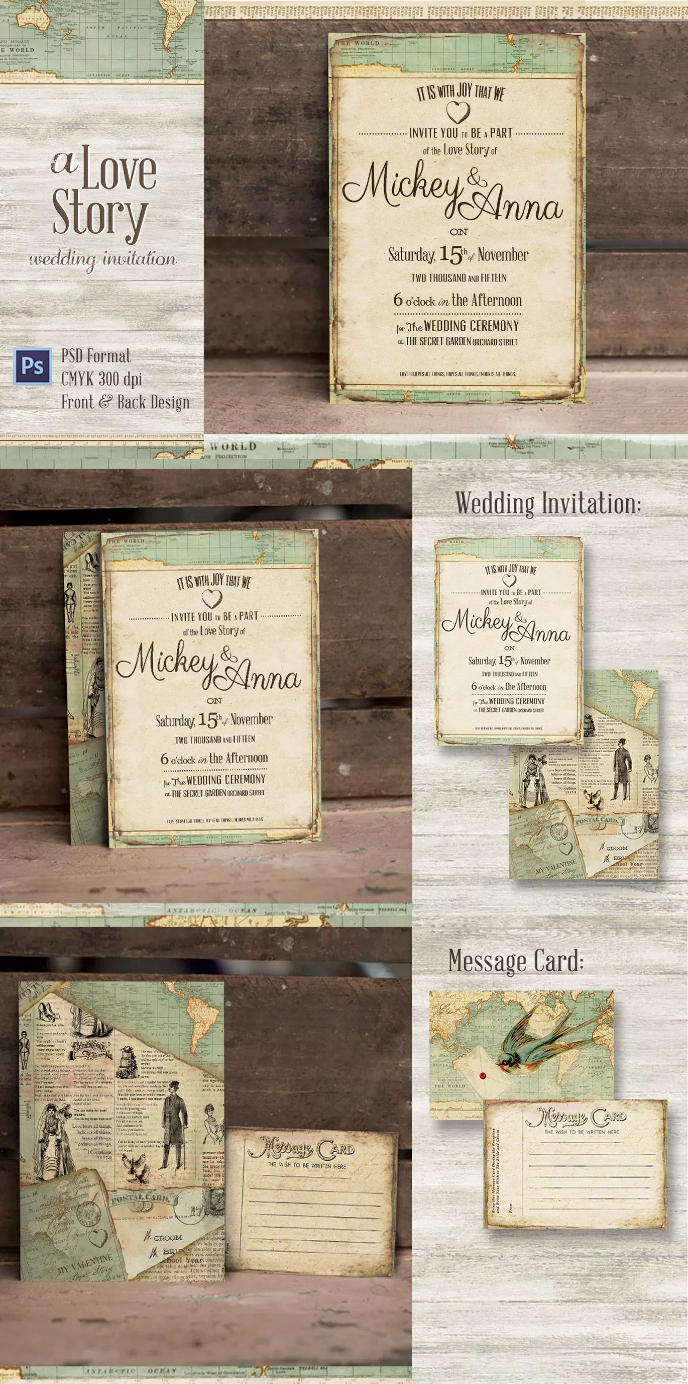 templates for wedding card design%0A Journey Wedding Invitation Template PSD