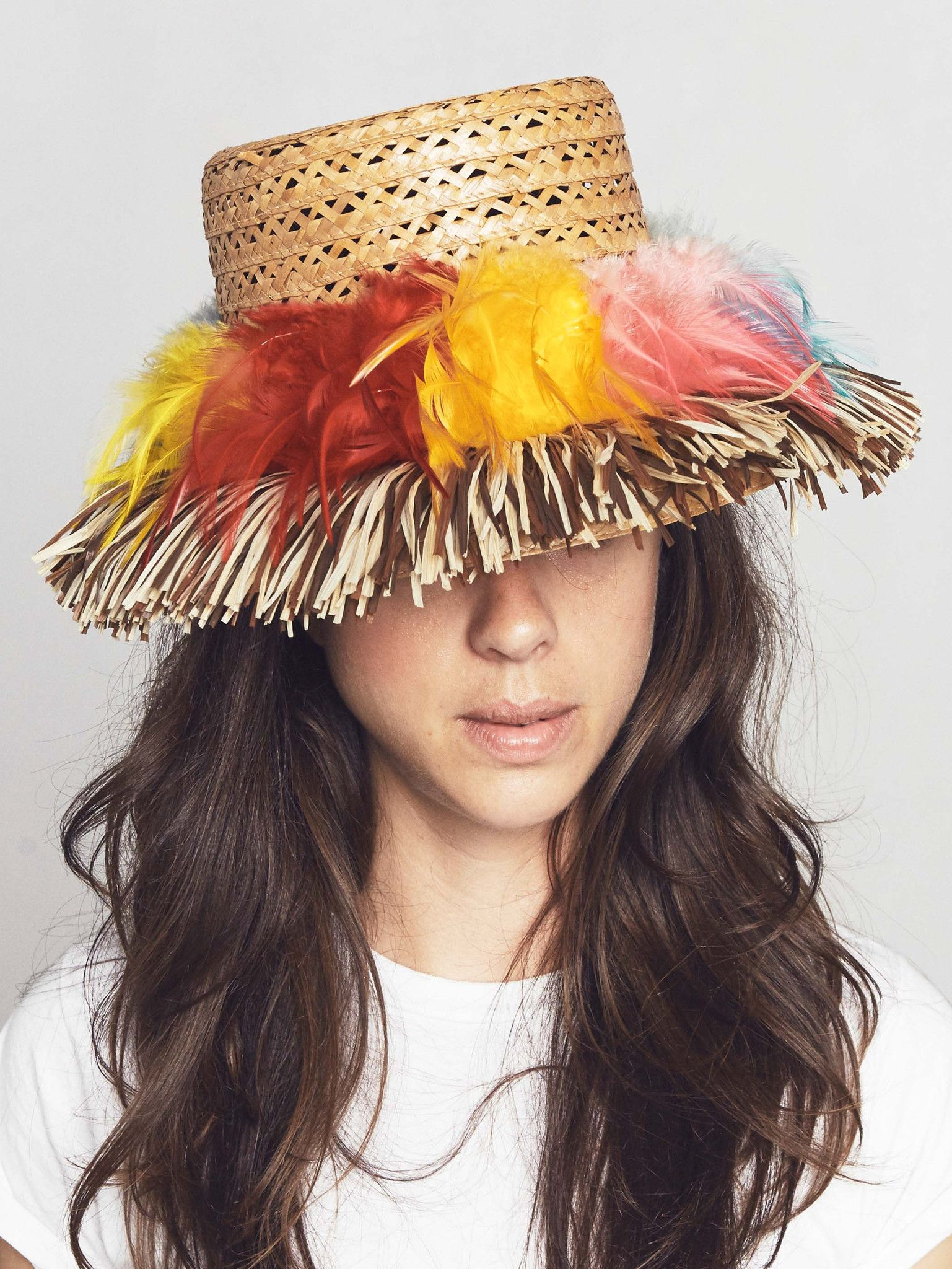 Vintage 1950s Straw Party Hat with Feathers