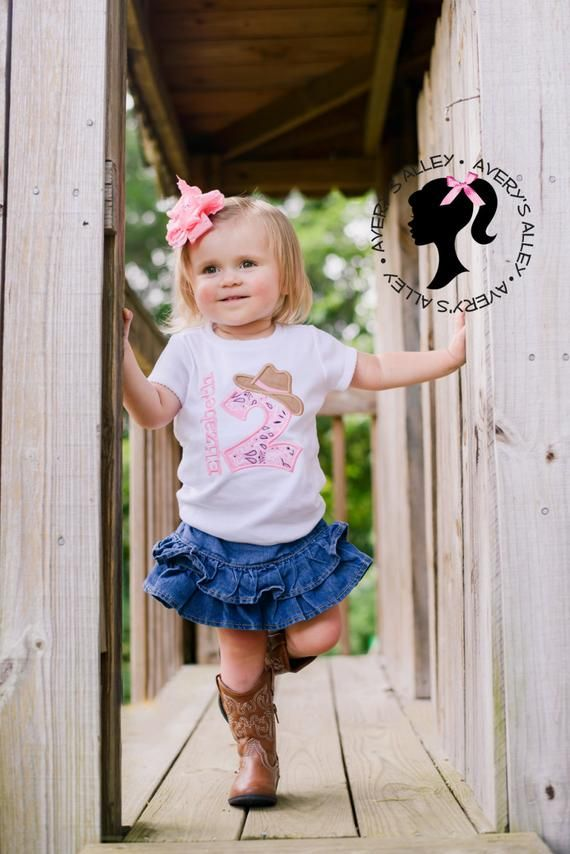 Personalized Pink Bandana Cowgirl Birthday Outfit - Bodysuit or Shirt and Matching Double Ruffle Hair Bow Set