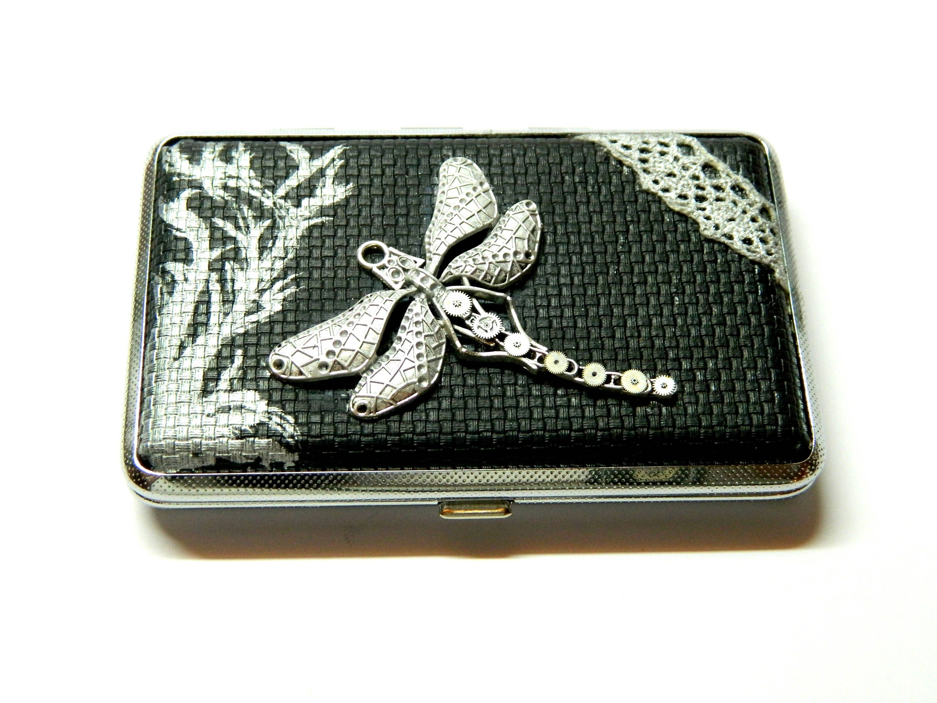 Fantasy dragonfly & lace, black embossed leatherette cigarette tin ...
