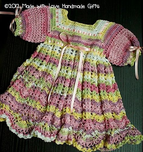 Gorgeous project: crochetsarah's pink and cream baby dress