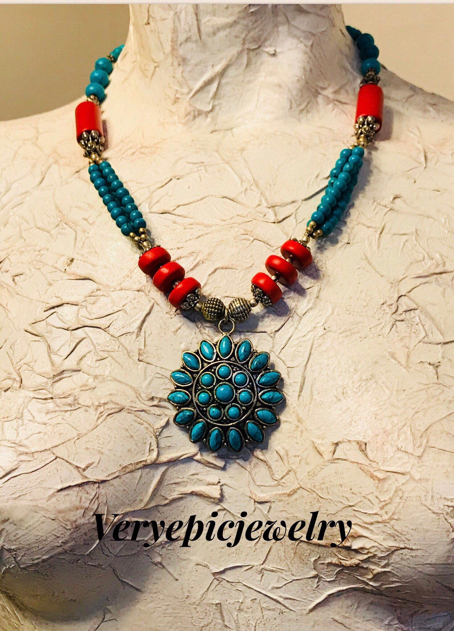 Red coral and turquoise macrame necklace