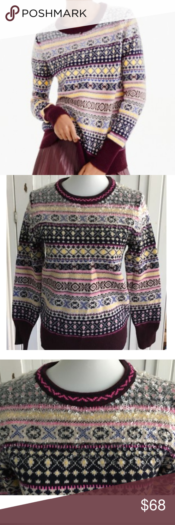 J Crew Sequin Fair Isle Sweater Lambswool Small NWT | Fair isles ...
