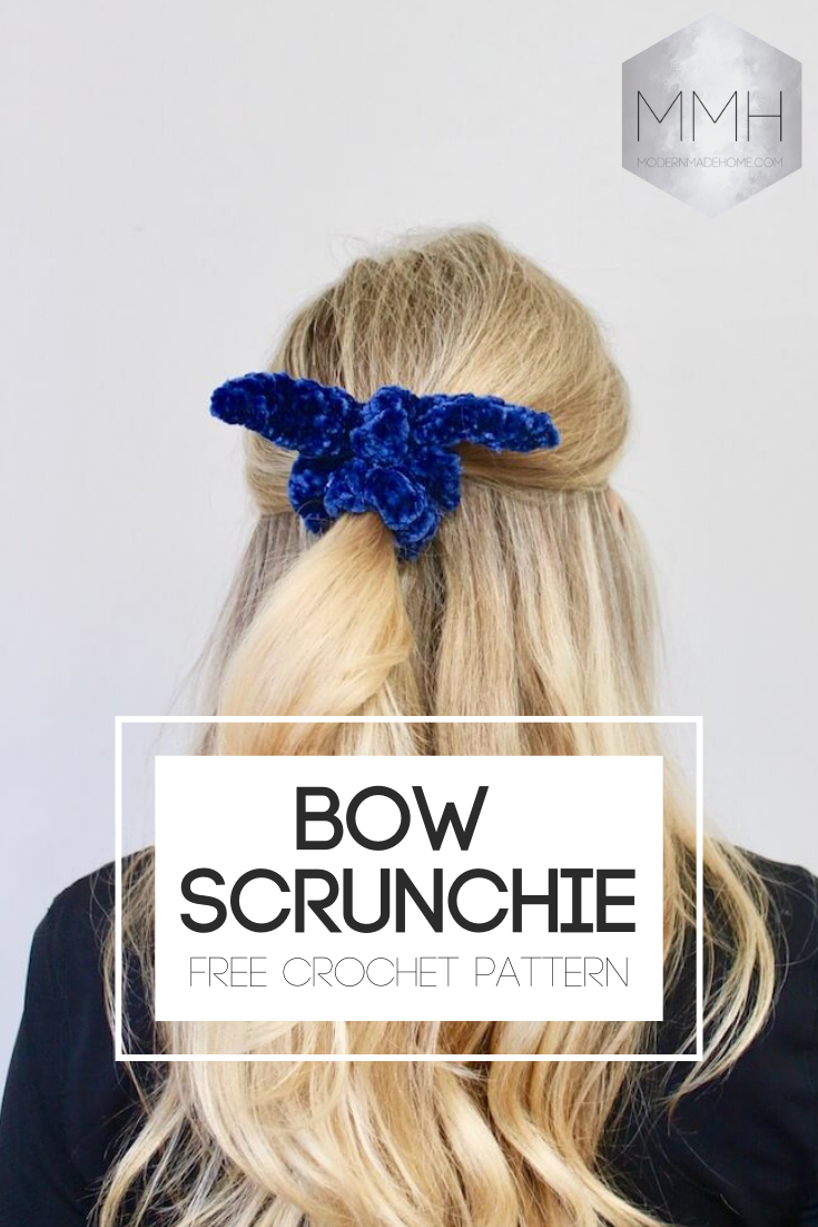 Free Crochet Pattern Bow Scrunchie #crochetscrunchies