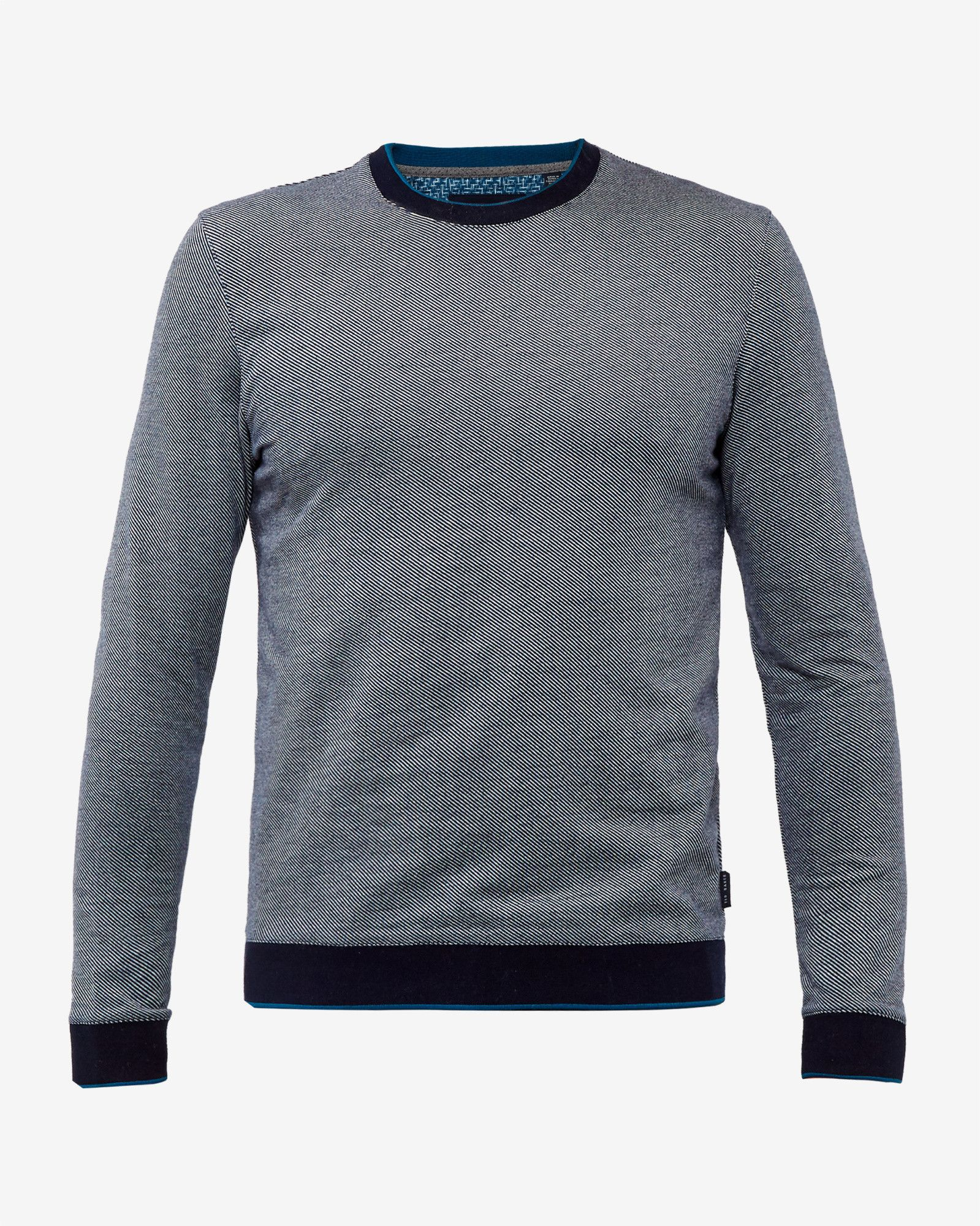 Crew neck cotton jumper - Navy | Knitwear | Ted Baker UK | Mens ...