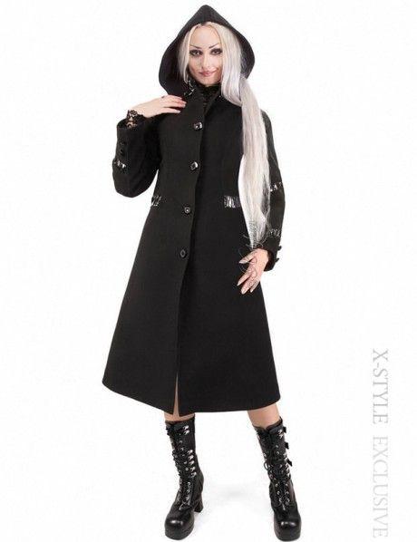 Зимнее черное пальто со съемным капюшоном  44710243007b9
