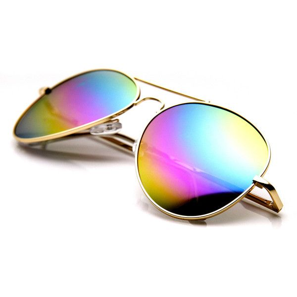 Classic Metal Tear Drop Rainbow Mirrored Lens Aviator