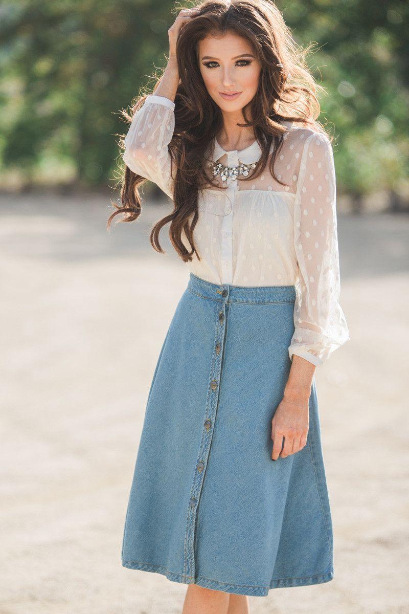 Denim midi skirt fall fashion A line skirt button front fashion staple pieces Morning ...