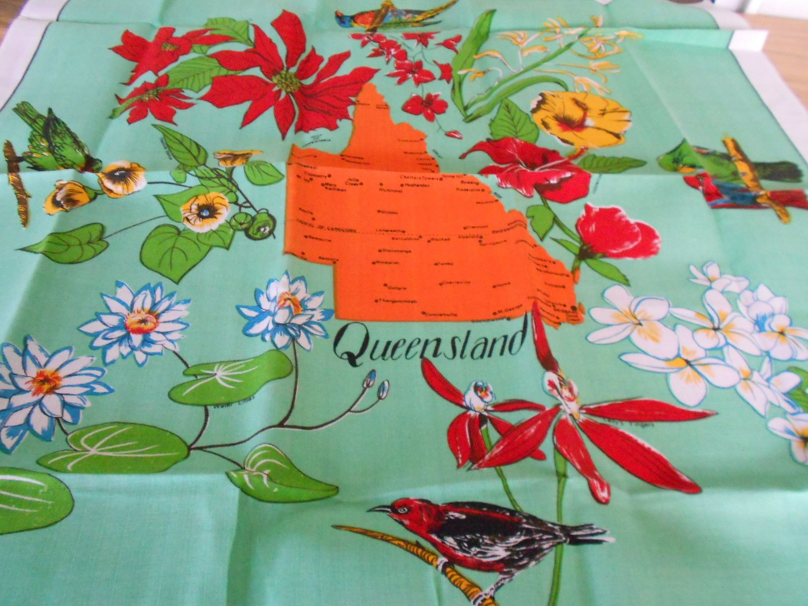 Queensland Flora Fauna Tablecloth 15 00 Just One Of The Many Retro Designs Australian Souvenir Tablecloths In My