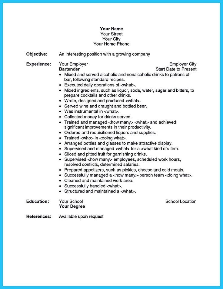 bartender resume exles bartender cv exle for restaurant bar - waitress resume