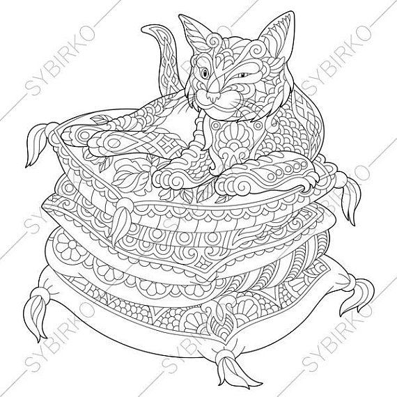 Lazy Cat. Kitten. Coloring Page for National Pet day greeting cards ...