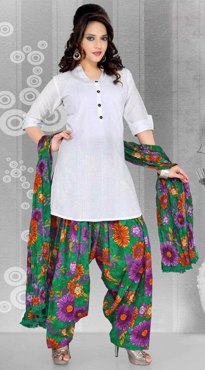 d0d6a666cb White Cotton Printed Work Patiala Suit | Patiala Suits | Patiala ...