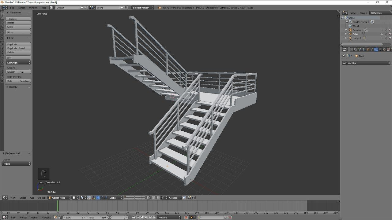 Blender 3D Modeling Practice 19 low poly stairs