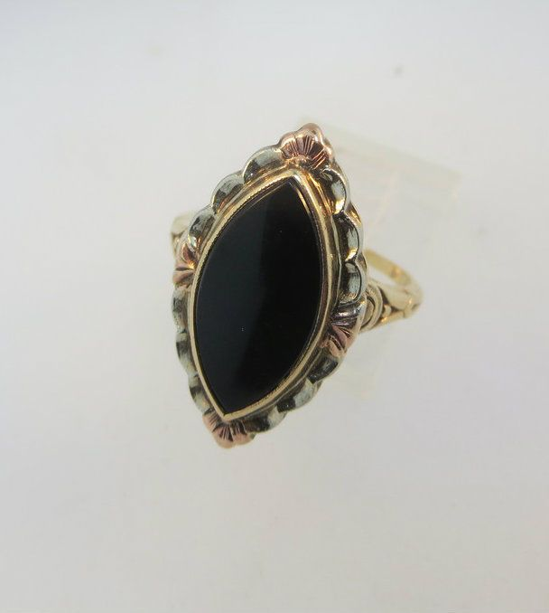 10k Yellow Gold Black Onyx Ring with White Gold and Rose Gold Accents and Filigr