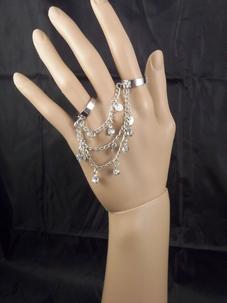 SILVER OR  BLACK DRAPING CHAIN RHINESTONE DANGLE 2 FINGER ADJUSTABLE RING #FashionJewelry #RingHarness