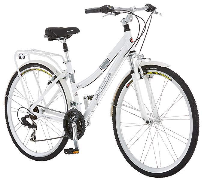 Amazon Com Schwinn Discover Hybrid Bike Featuring 16 Inch Small Aluminum Step Through Frame With 21 Speed Drivetrain Hybrid Bicycle Hybrid Bike Comfort Bike