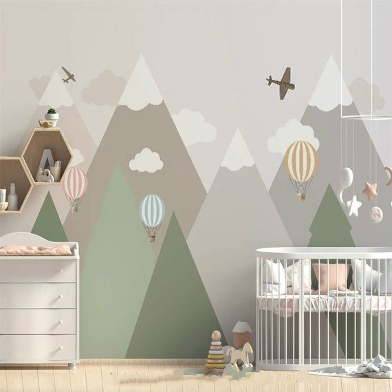 Geometric Mountains Nursery Kids Children Wallpaper Wall Mural, Triangle Mountains with Clouds Hot Air Balloons Kids Children Wall Mural