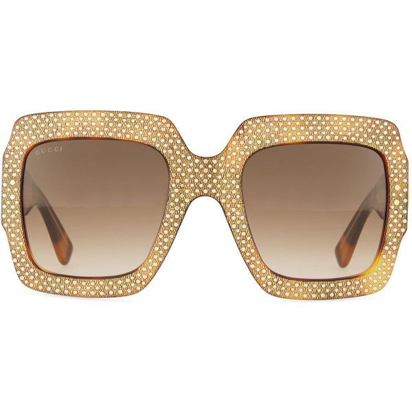 cefa5671918 Gucci Crystal-Trim Square Gradient Sunglasses ( 1