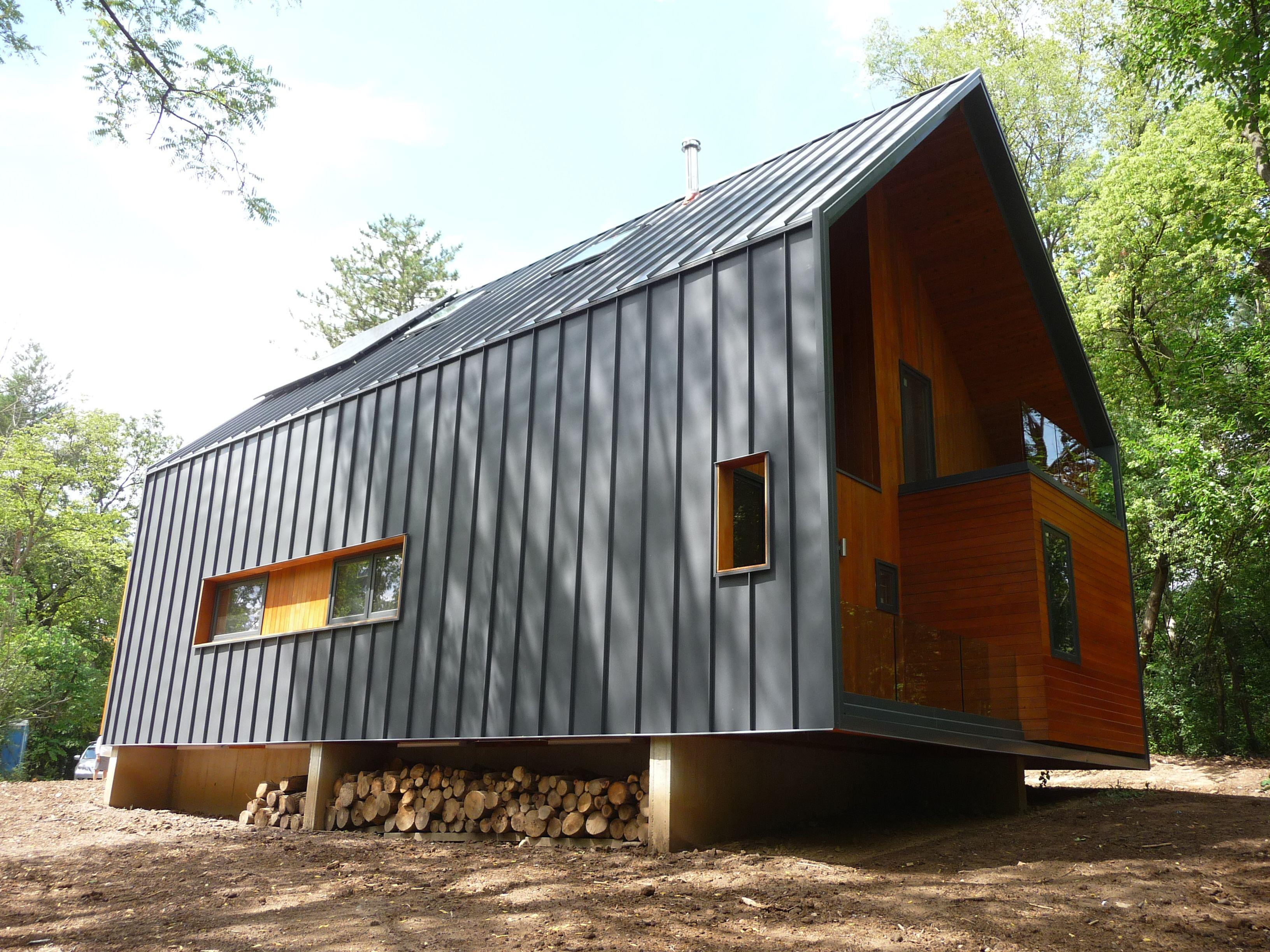 Finished exterior sans landscaping leed platinum house by bureau