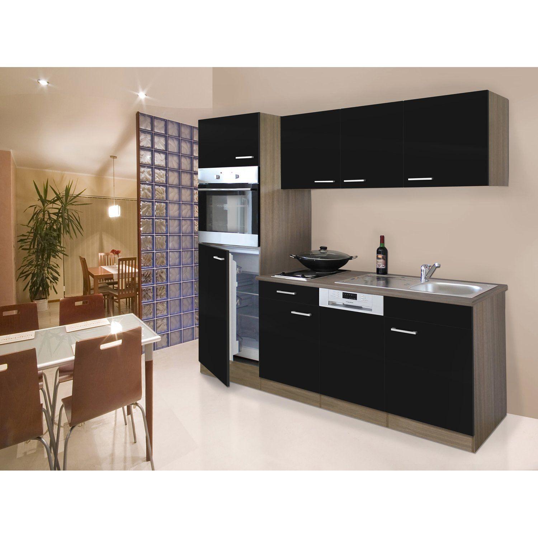 Respekta Küchenzeile/Küchenblock 205 cm SchwarzEiche York