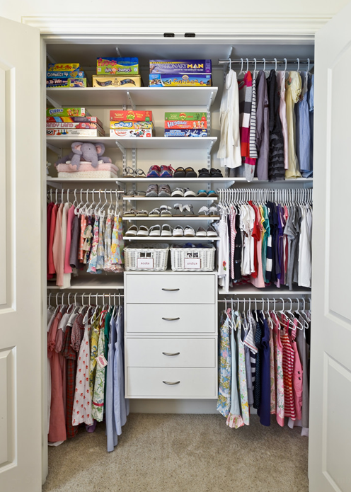 Children S Closet Organized Living Freedomrail Kids Closet This System Grows With Your Child S Needs Childrens Closet Kids Closet Organization Closet Designs