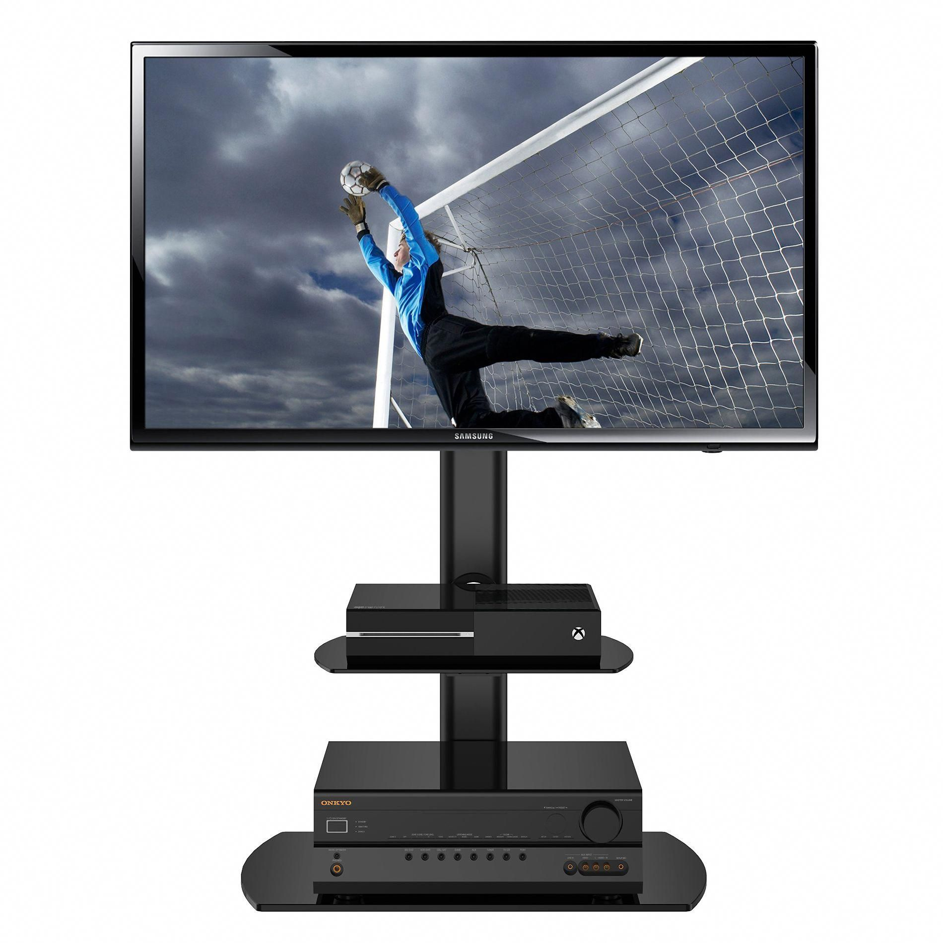 Swivel Black Tv Floor Stand With Mount And Two Component Shelves Adjule Height For 32 To 50 Inch Plasma Lcd Led Flat Screen Tvs Swivelstandfortv