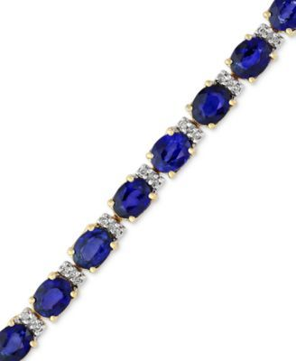 Velvet Bleu By Effy Manufactured Diffused Sapphire 12 Ct T W And Diamond 1 4 Ct T W Tennis Bracelet In 14k Gold Reviews Bracelets Jewelry Watche 14k Gold Bangles