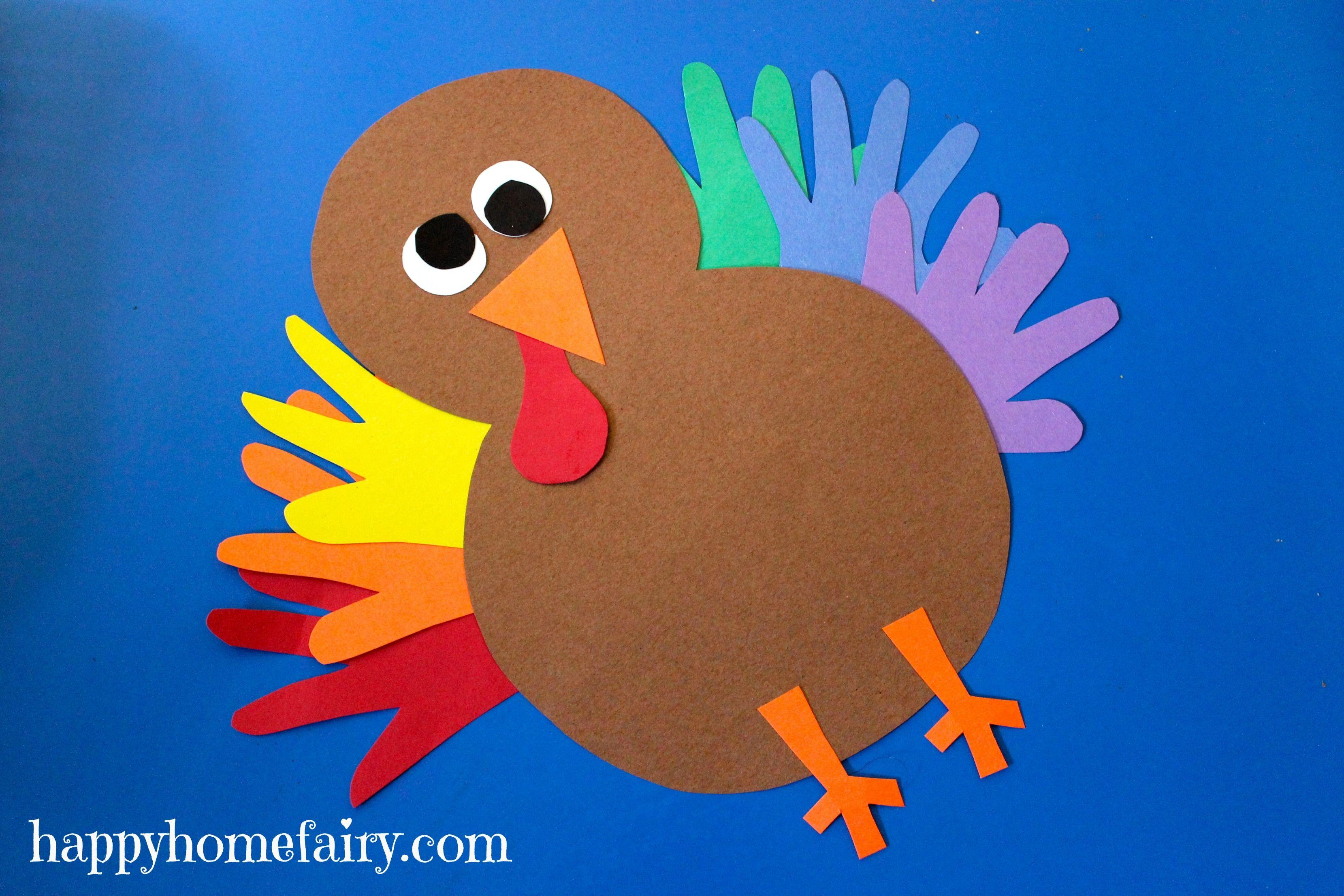 Hand turkey craft Thankful Handprint Turkey Craft