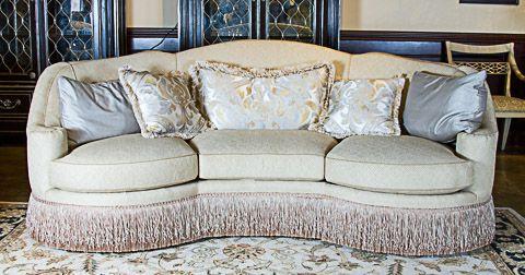 century furniture bayview curved 3 cushion sofa with fringe skirt rh pinterest ca