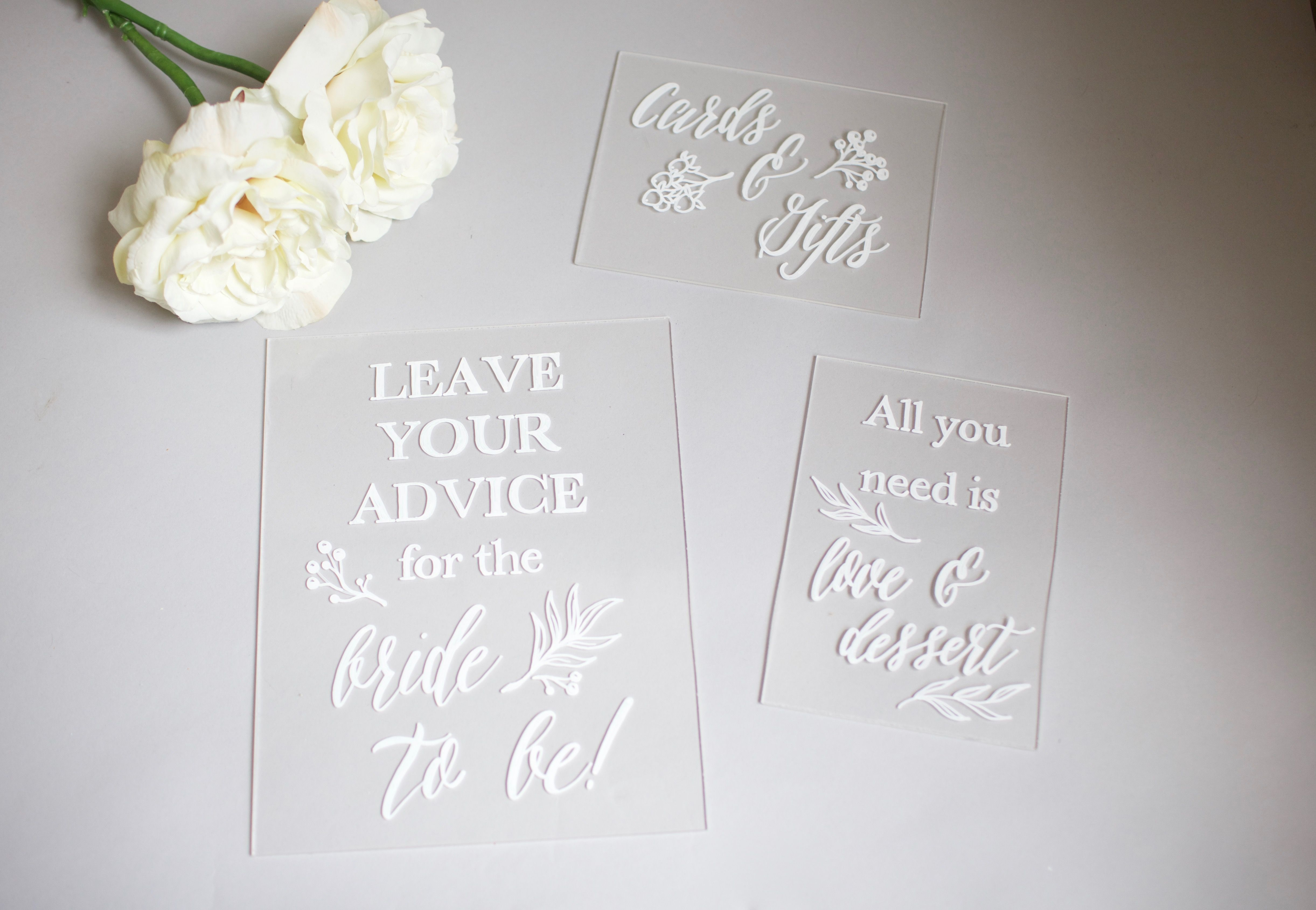 bridal shower thank you cards etiquette%0A Set of hand painted custom designed acrylic bridal shower signs  Cards  u      gifts  advice