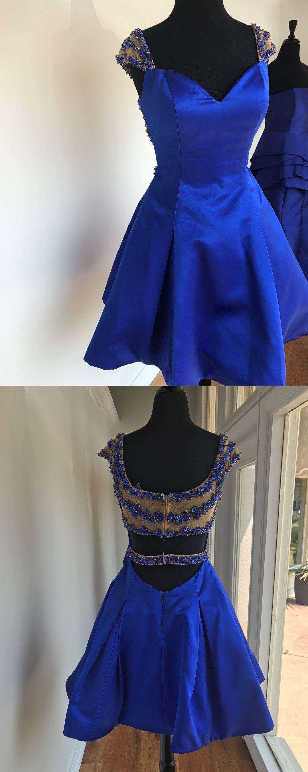 Cute short royal blue homecoming dress with beads k graduation