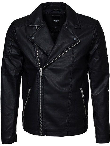 Pu Asymmetric Biker - New Look - Svart - Jackor - Kläder - Man - NlyMan