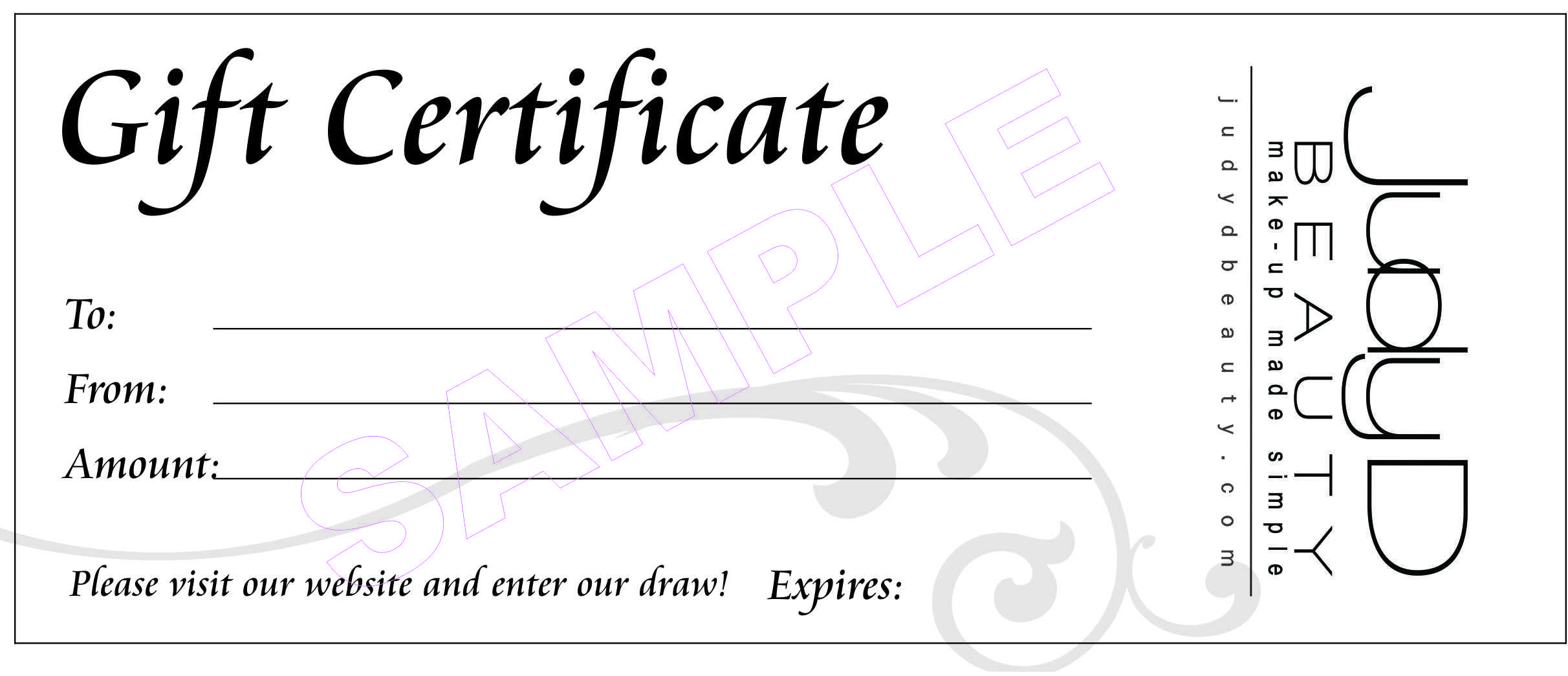 Gift Certificate Judy Beauty Makeup Artist Voucher Coupon Template