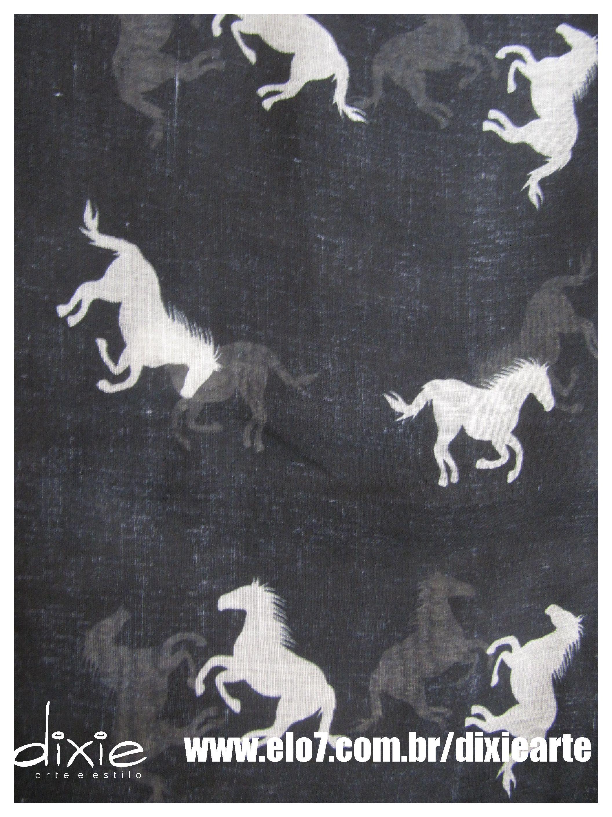 Lenço Preto Cavalos  www.elo7.com.br/dixiearte