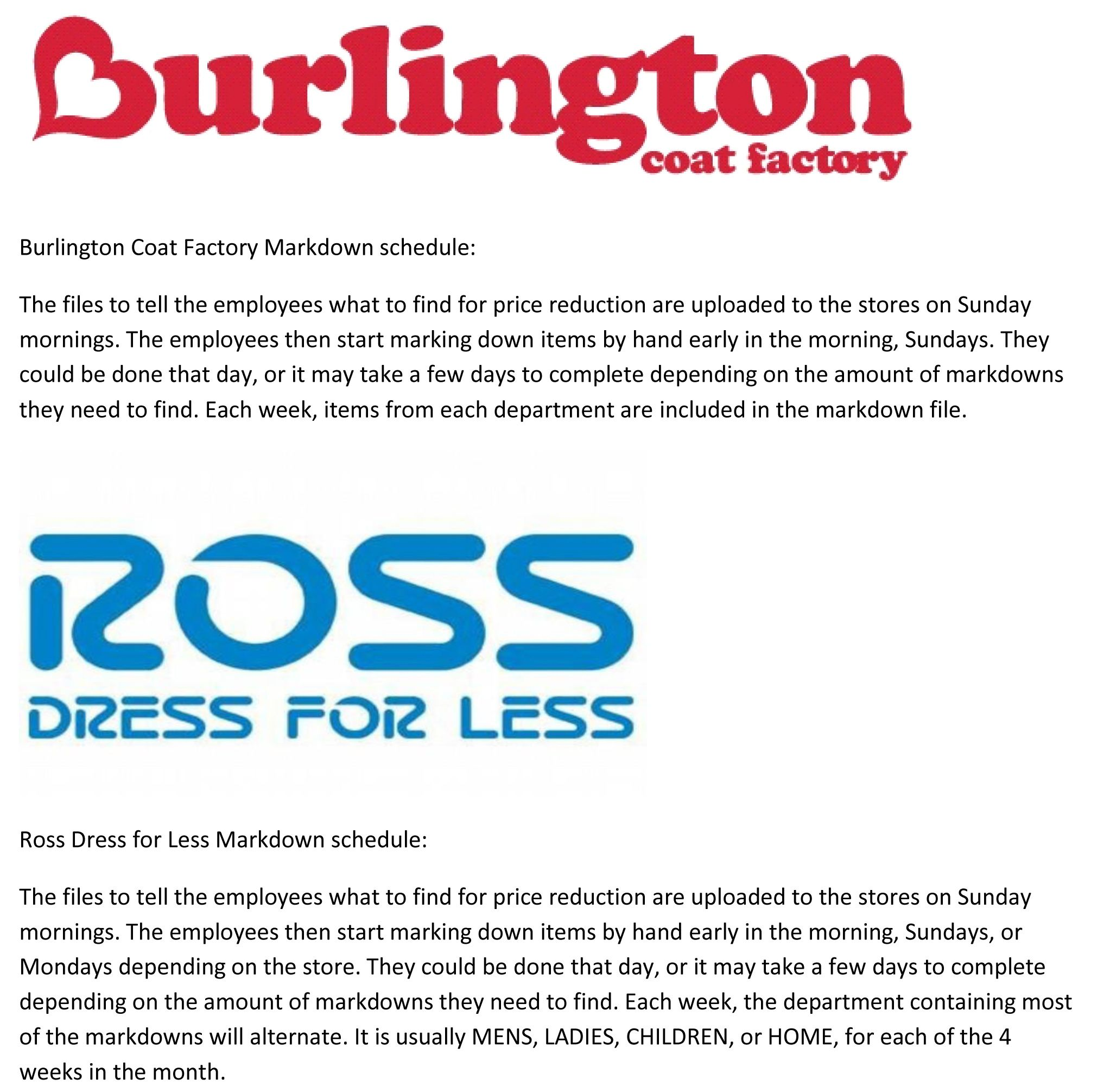 ross dress for less  u0026 bcf burlington coat factory markdown clearance schedules