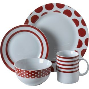 Buy 16 Piece Porcelain Red Simplicity Dinner Set at Argos.co.uk - Your  sc 1 st  Pinterest & Buy 16 Piece Porcelain Red Simplicity Dinner Set at Argos.co.uk ...