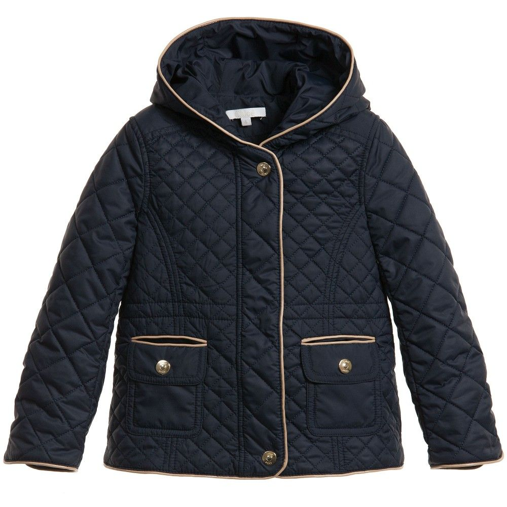 Chloé Girls Navy Blue Quilted Jacket at Childrensalon.com | Girls ...