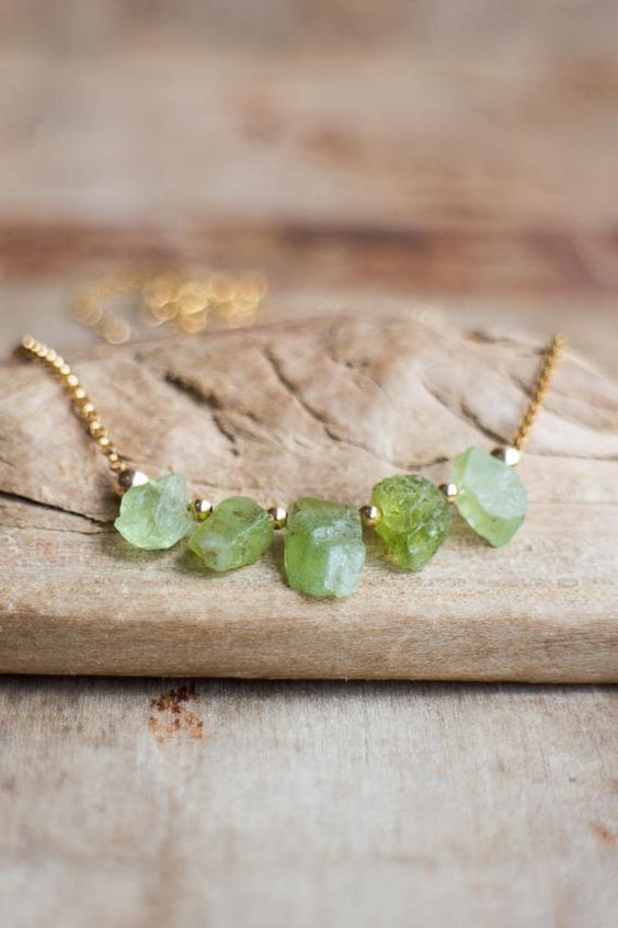 Photo of Raw Peridot Necklace, Raw Stone Necklace, Sterling Silver or Rose Gold Leo Necklace, Crystal Necklace, August Birthstone Peridot Jewelry