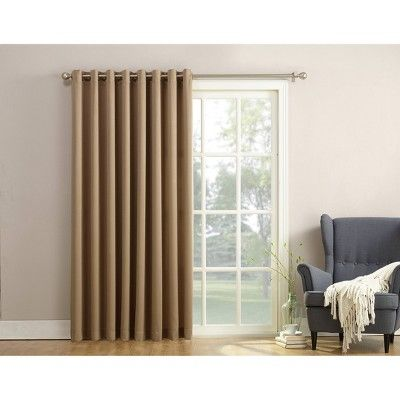 84 X100 Seymour Extra Wide Energy Efficient Patio Room Darkening Curtain Panel Taupe Sun Zero With Images Patio Door Curtains Panel Curtains Curtains