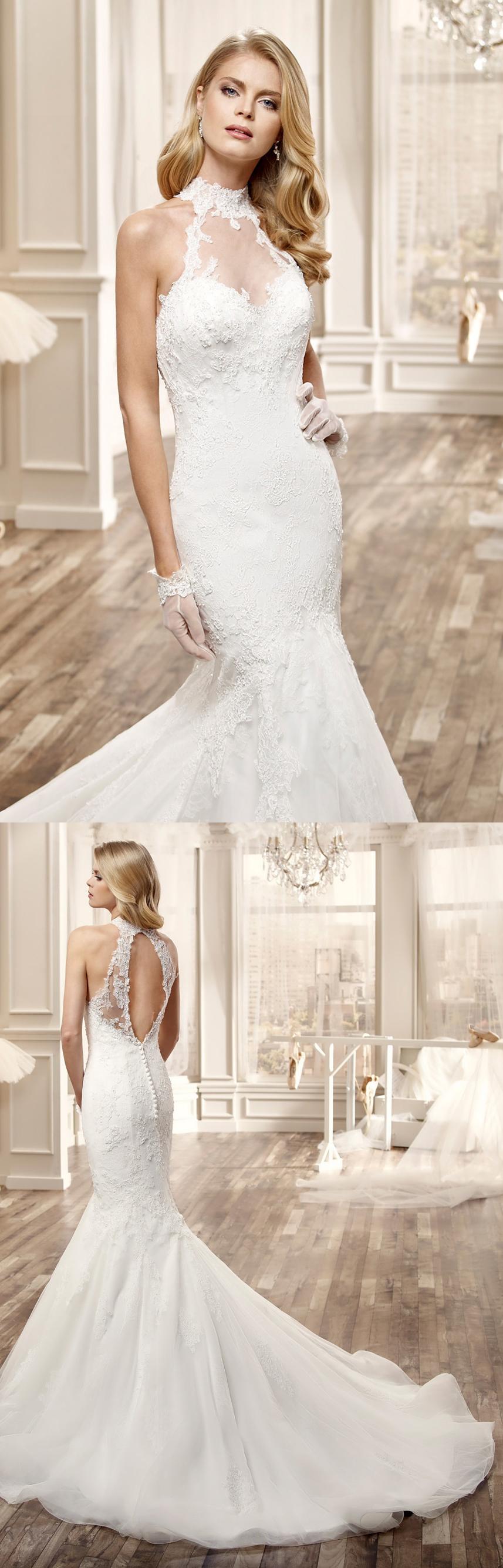 Lace keyhole back wedding dress  HighNeck Mermaid Lace Wedding Dress With Appliques And Keyhole Back